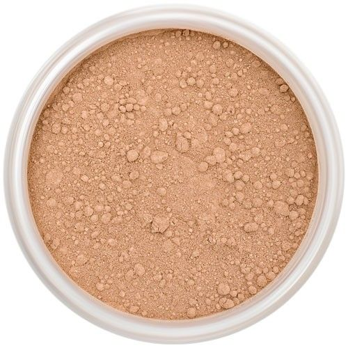 Lily Lolo Dusky Mineral Foundation: Gluten free, vegan. A tan foundation shade with balanced undertones.