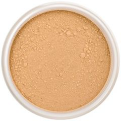 Lily Lolo Saffron Mineral Foundation: Gluten free, vegan. A tan foundation shade with yellow undertones.